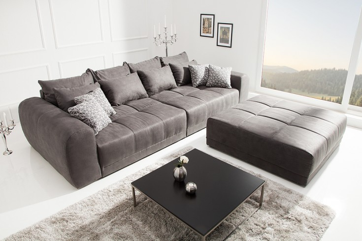 Moderner Hocker zu XXL Sofa GIANT LOUNGE 120cm grau
