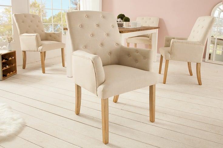 Design Armlehnen Stuhl LONG ISLAND beige Chesterfield Landhausstil