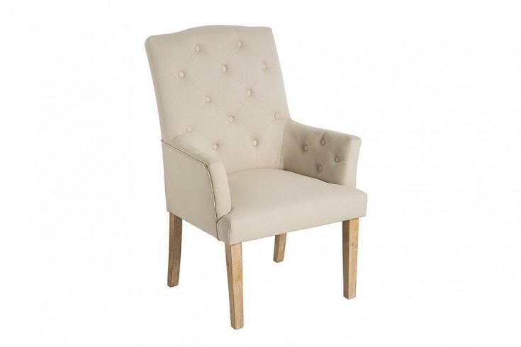 Design Stuhl LONG ISLAND beige mit Armlehnen Chesterfield Steppung Landhausstil