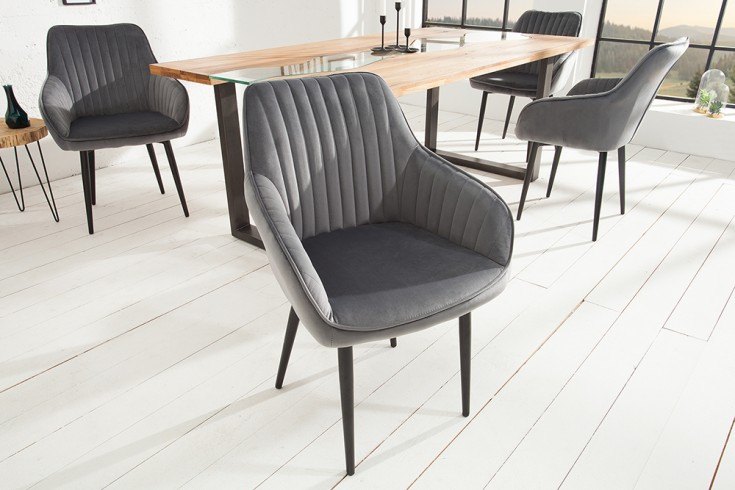 Edler Design Stuhl TURIN Samt silbergrau mit Armlehne