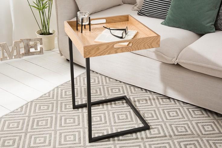 Design Beistelltisch CIANO 40cm Tablett-Tisch Eiche schwarz Tabletttisch