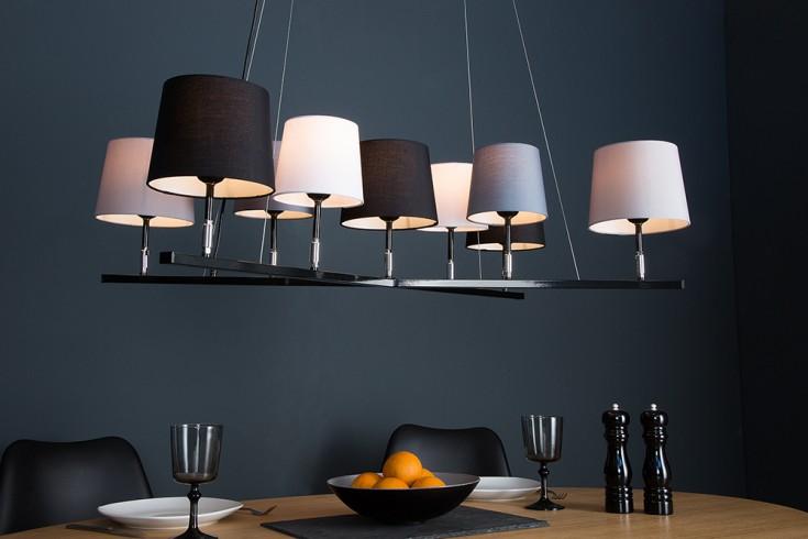 Design Hängeleuchte LEVELS II 95cm schwarz grau mit 9 Leinenschirmen