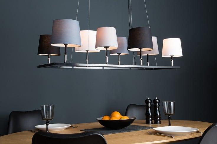 Design Hängeleuchte LEVELS III 100cm schwarz grau mit 8 Leinenschirmen