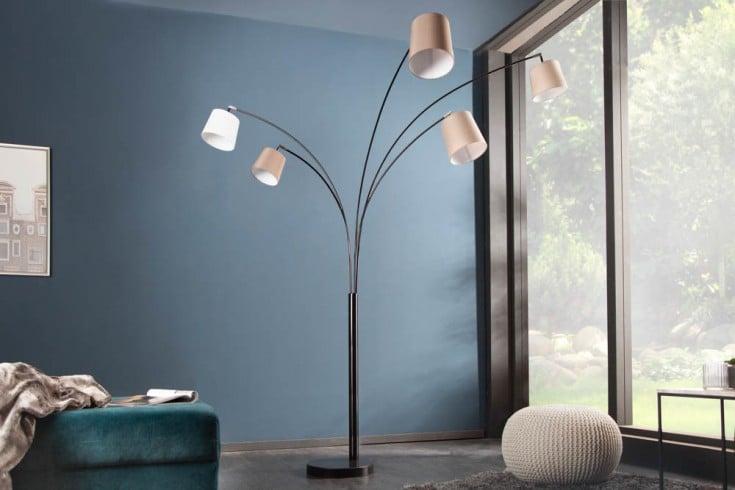 Design Bogenlampe LEVELS 205cm weiß beige braun 5 Leinenschirme Stehlampe