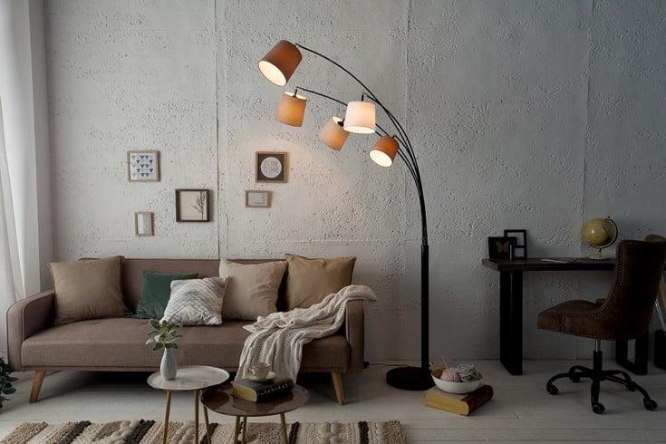 Design Bogenlampe LEVELS 200cm weiß beige braun 5 Leinenschirme Stehlampe