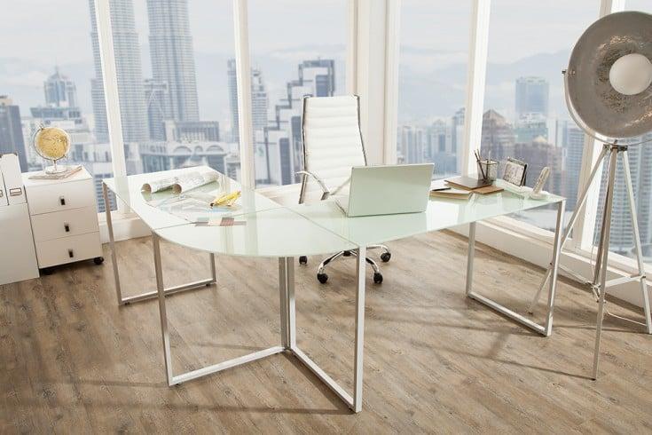 Exklusiver Design Eck-Schreibtisch BIG DEAL 180cm mattweiß Glas