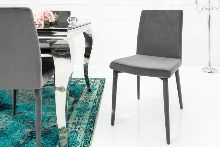 Exklusiver Design Stuhl MILANO Samt grau