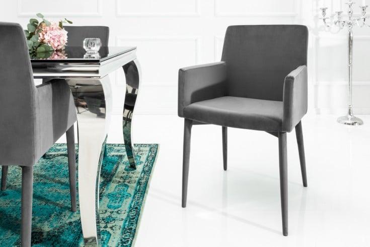 Exklusiver Design Stuhl MILANO mit Armlehne Samt grau