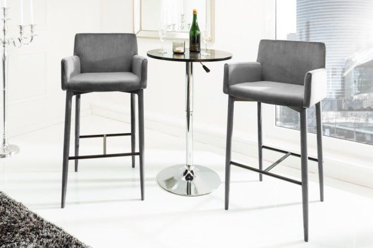 Exklusiver Design Barstuhl MILANO mit Armlehne Samt grau