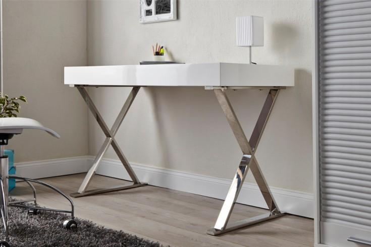 Design Schreibtisch GRACE 100cm Hochglanz weiß Modern Design