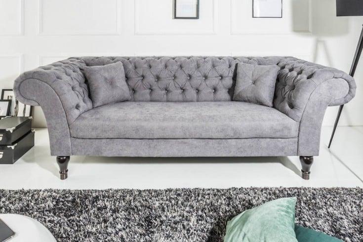 Chesterfield Sofa CONTESSA 225cm Baumwolle grau mit 2 Kissen