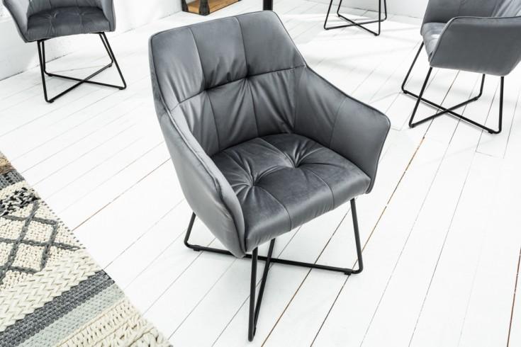 Exklusiver Design Stuhl LOFT silbergrau Samt mit Armlehne