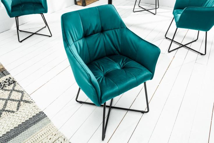 Exklusiver Design Stuhl LOFT türkis Samt mit Armlehne