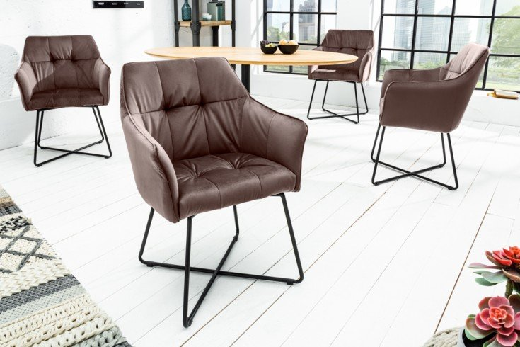 Exklusiver Design Stuhl LOFT taupe braun Samt mit Armlehne