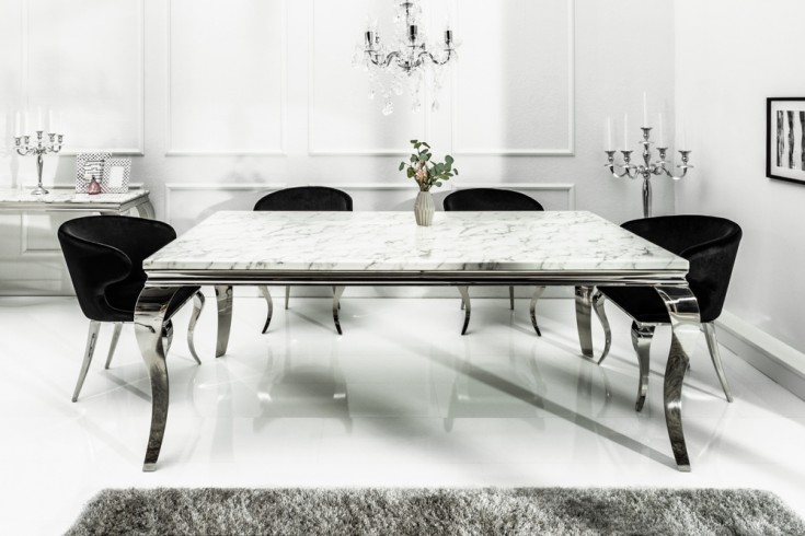 Eleganter Esstisch MODERN BAROCK 180cm grau weiß Marmor Edelstahl