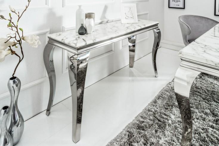 Eleganter Konsolentisch MODERN BAROCK 140cm grau weiß Marmor Edelstahl
