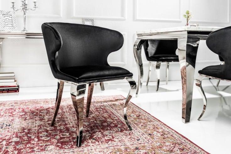 Eleganter Stuhl MODERN BAROCK II schwarzer Samt Edelstahl