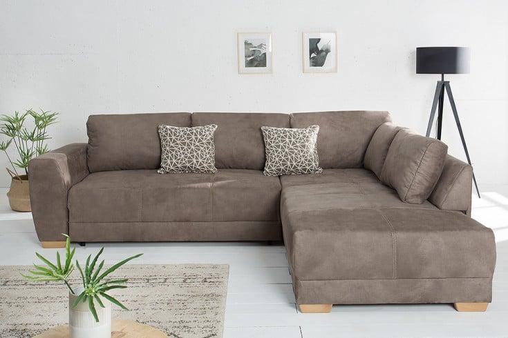 Moderne Wohnlandschaft NORWAY 255cm hellbraun Schlafsofa inkl. Kissen