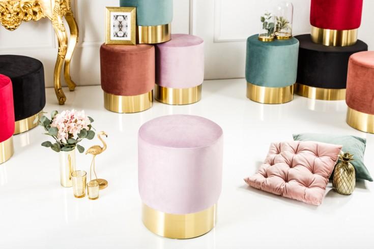 Eleganter Sitzhocker MODERN BAROCK 35cm Samt flieder gold Beistelltisch