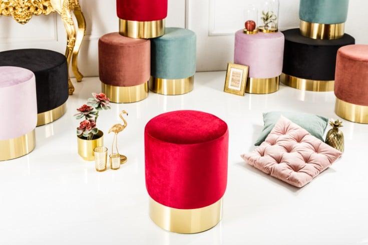 Eleganter Sitzhocker MODERN BAROCK 35cm Samt rot gold Beistelltisch