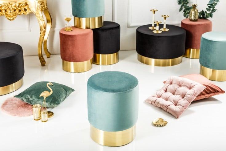 Eleganter Sitzhocker MODERN BAROCK 35cm Samt mint Beistelltisch