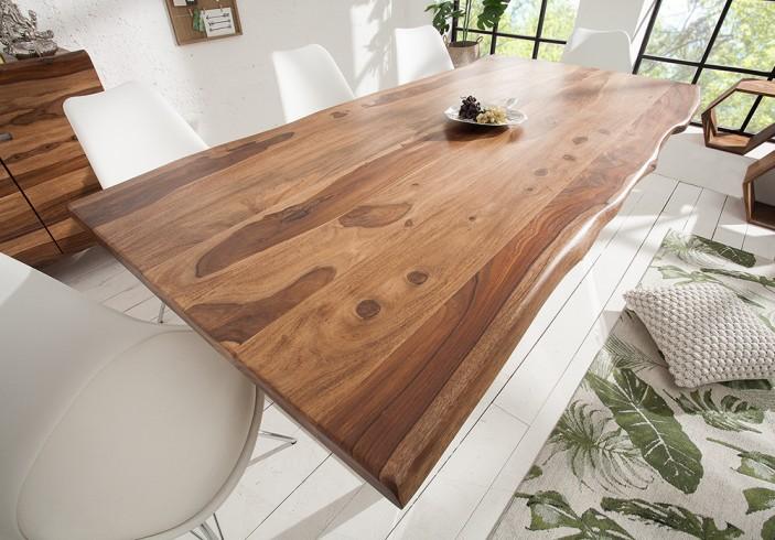 Massiver baumstamm tisch mammut 200cm sheesham 4cm for Design esstisch vollholz