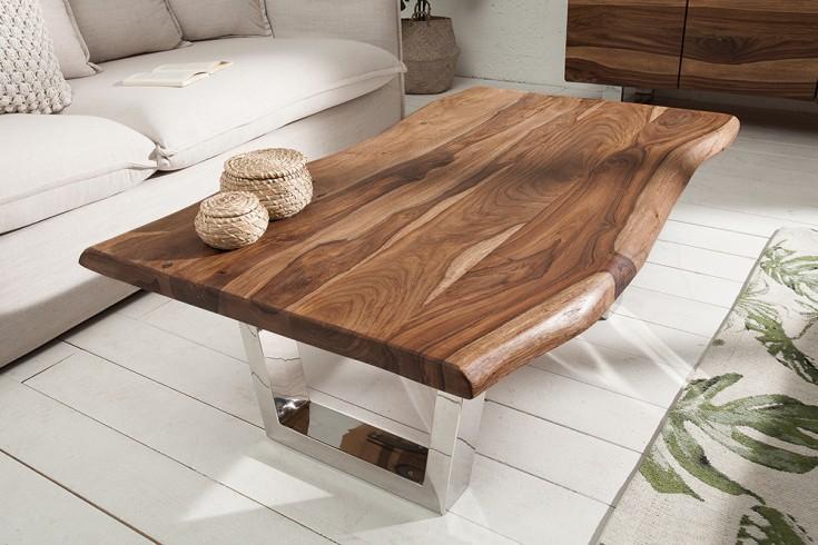 Massiver Baumstamm Couchtisch MAMMUT 110cm Sheesham 4cm Tischplatte