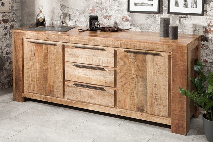 Massives Sideboard IRON CRAFT 174cm Mangoholz Handarbeit
