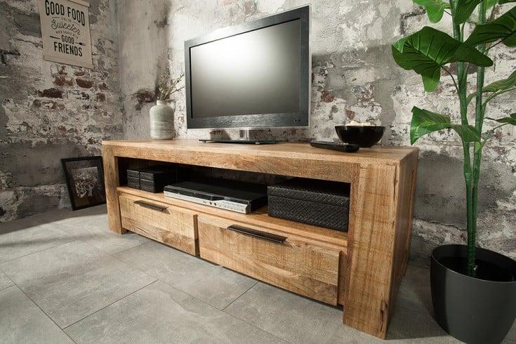 Massives TV-Board IRON CRAFT Mango 130cm 2 Schubladen