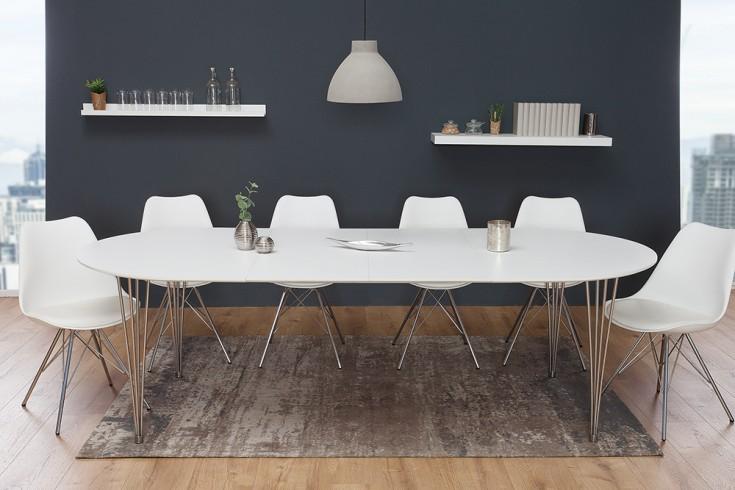 Moderner Esstisch ARRONDI weiß 160-256cm ausziehbar
