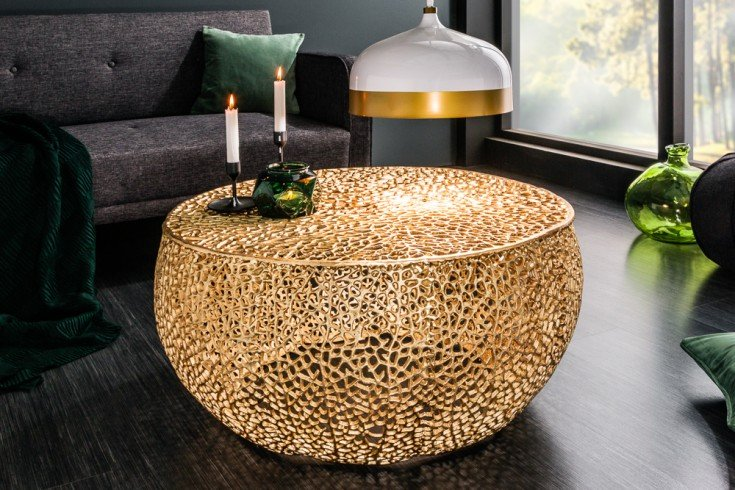 Filigraner Design Couchtisch LEAF 80cm gold Handarbeit