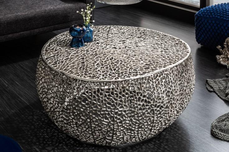 Filigraner Design Couchtisch LEAF 80cm silber Handarbeit