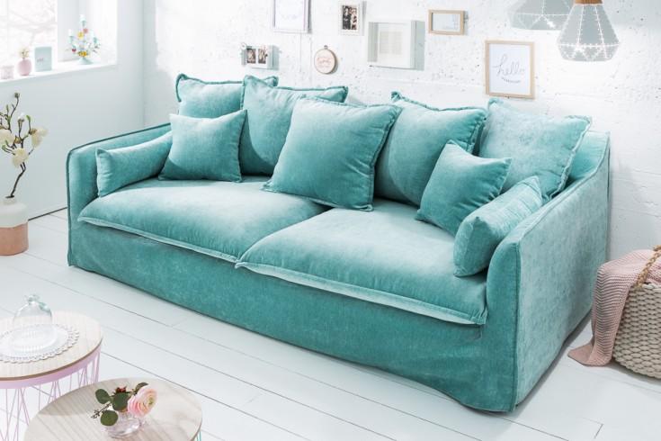 Großes 3er Sofa HEAVEN 210cm aqua Samt abnehmbarer Bezug Hussensofa