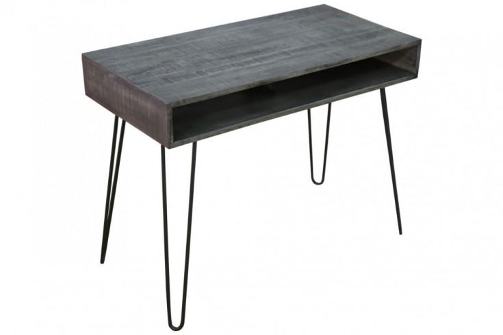 Massiver Schreibtisch MANTIS grau 100cm Mangoholz Hairpin Legs