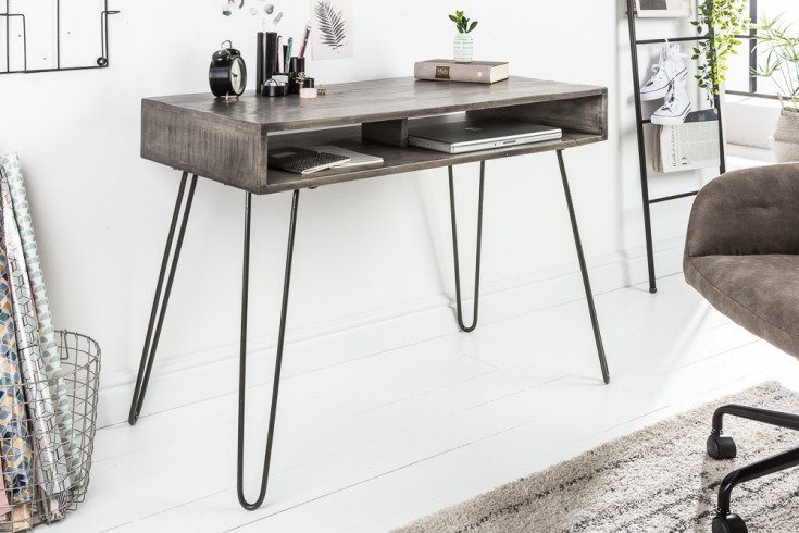 Massiver Schreibtisch SCORPION grau 100cm Mangoholz Hairpin Legs