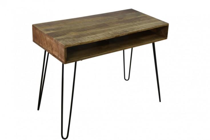 Massiver Schreibtisch MANTIS natur 100cm Mangoholz Hairpin Legs