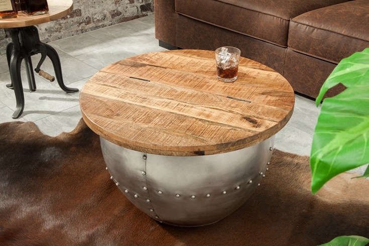 Design Couchtisch DRUMP STORAGE 68cm natural Mangoholz Industrial