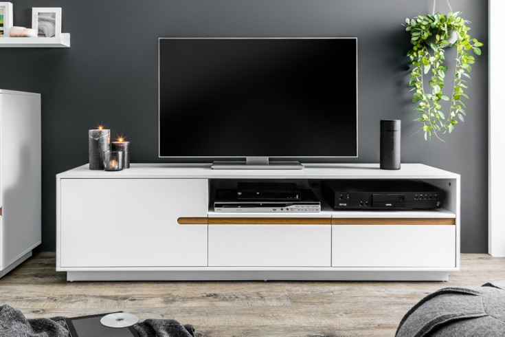 Modernes Design TV-Lowboard ELEMENTS 160cm edelmatt weiß