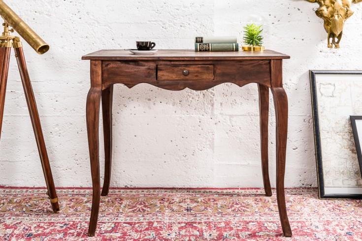 Eleganter Schreibtisch HEMINGWAY 80cm braun Mahagoni mit Schublade