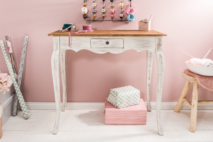 Eleganter Schreibtisch HEMINGWAY 80cm weiß Mahagoni mit Schublade
