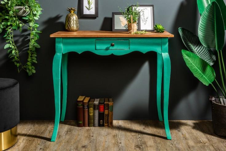 Eleganter Schreibtisch HEMINGWAY 80cm grün Mahagoni mit Schublade