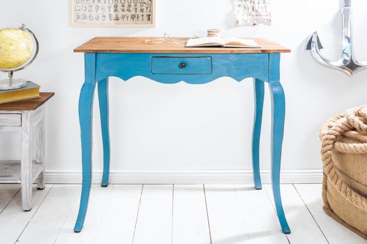 Eleganter Schreibtisch HEMINGWAY 80cm blau Mahagoni mit Schublade