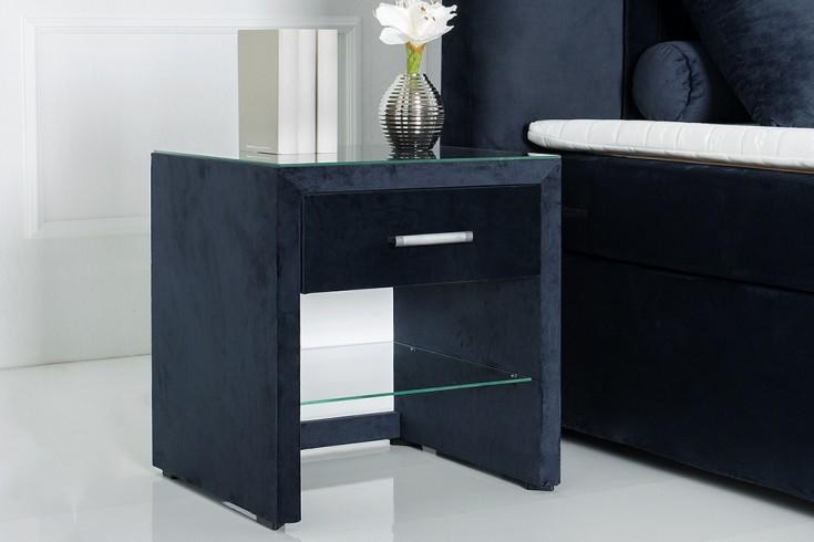 Moderne Nachtkommode COZY VELVET dunkelblau Samt Nachttisch