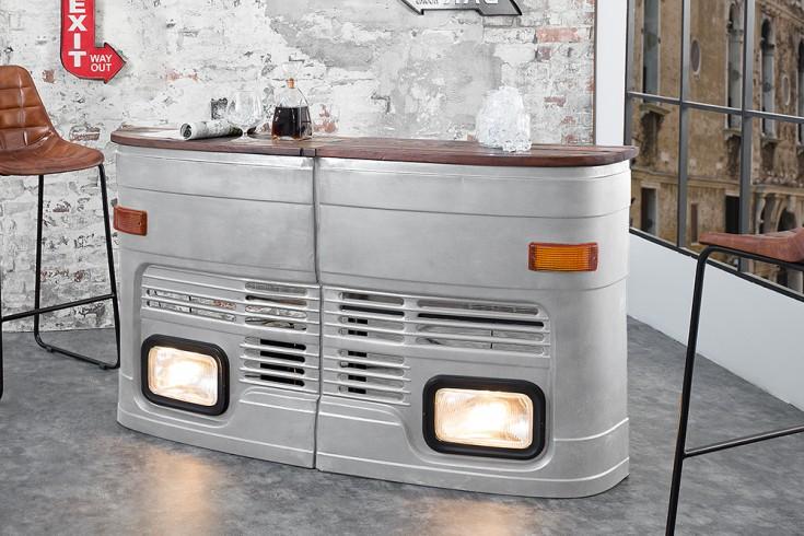 Oldtimer Hausbar 81cm silber original halbe LKW Front rechte Seite inkl. Lichtanlage
