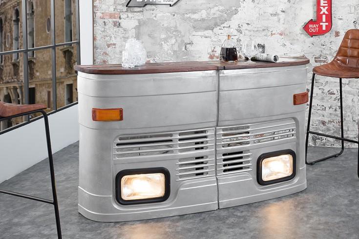 Oldtimer Hausbar 81cm silber original halbe LKW Front linke Seite inkl. Lichtanlage
