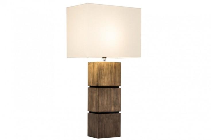 Elegante Tischleuchte PURE NATURE I Baumwolle Massivholz Tischlampe