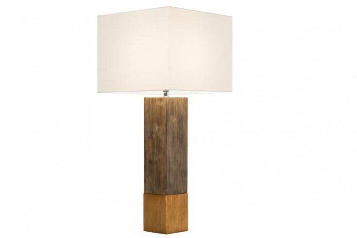 Elegante Tischleuchte PURE NATURE II Baumwolle Massivholz Tischlampe