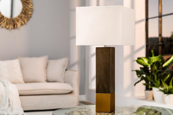 Elegante Tischleuchte PURE NATURE II 67cm Baumwolle Massivholz Tischlampe