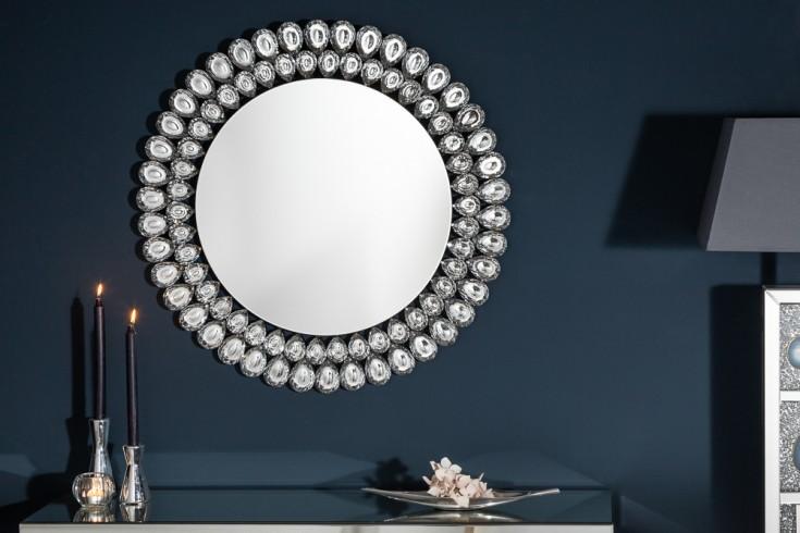 Extravaganter Wandspiegel BIG DIAMONDS 80cm rund mit Glas-Kristallen