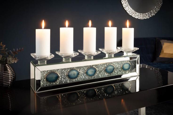 Extravaganter Kerzenhalter DIAMONDS ACHAT 61cm mit Achatsteinen und Kristallen